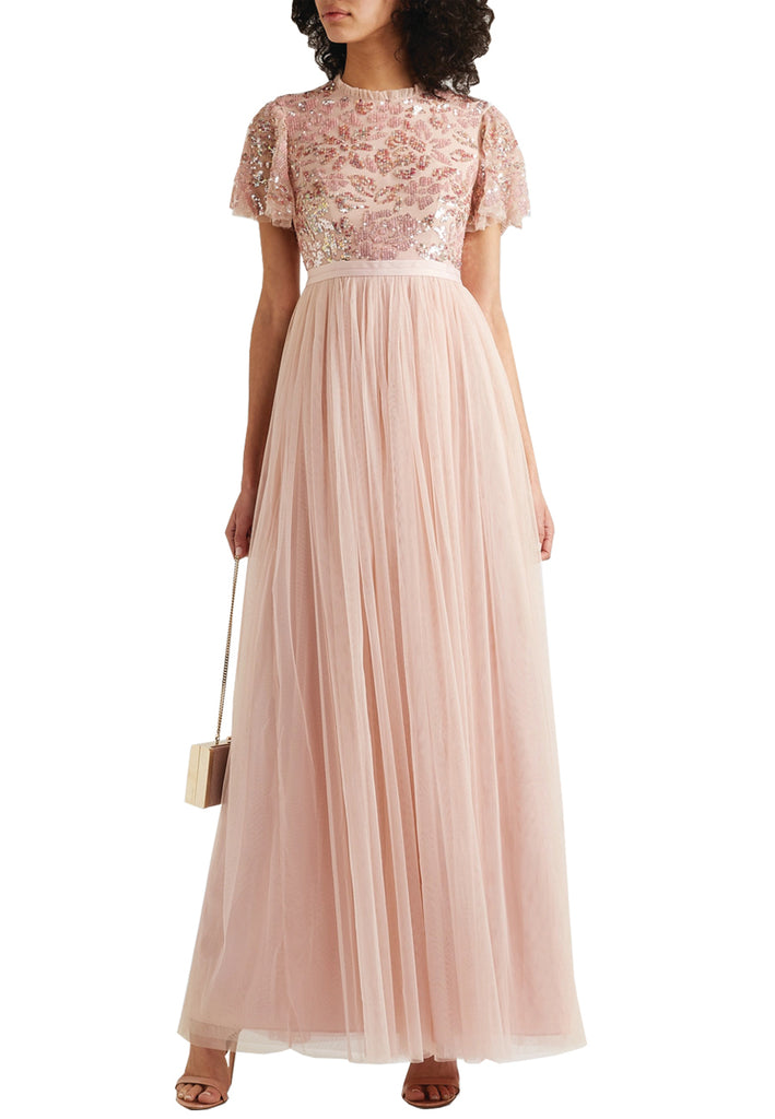 Pink Dream Rose Tonal Sequins Open Back Gown