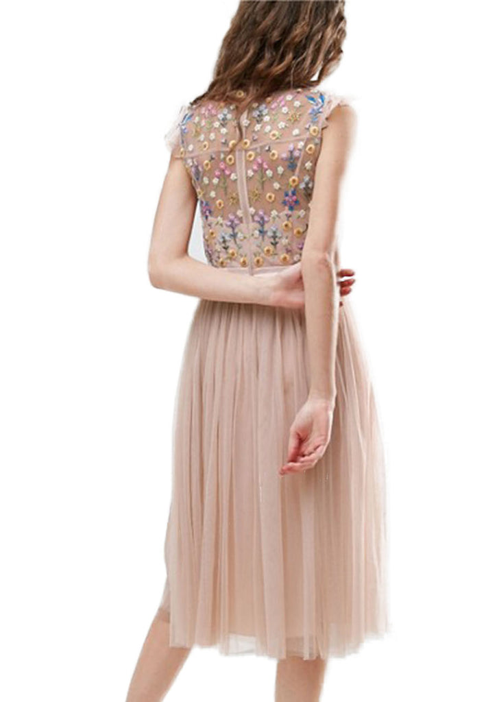 Nude Embroidered Floral Tulle Midi Dress