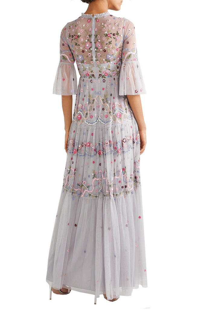 Light Grey Dreamers Floral Embroidered Tulle Gown