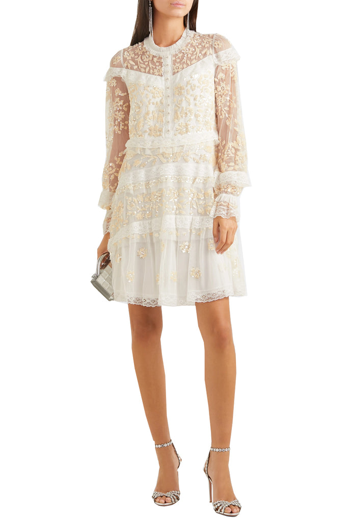 Ivory Ava Sequins Embellished Tulle Mini Dress