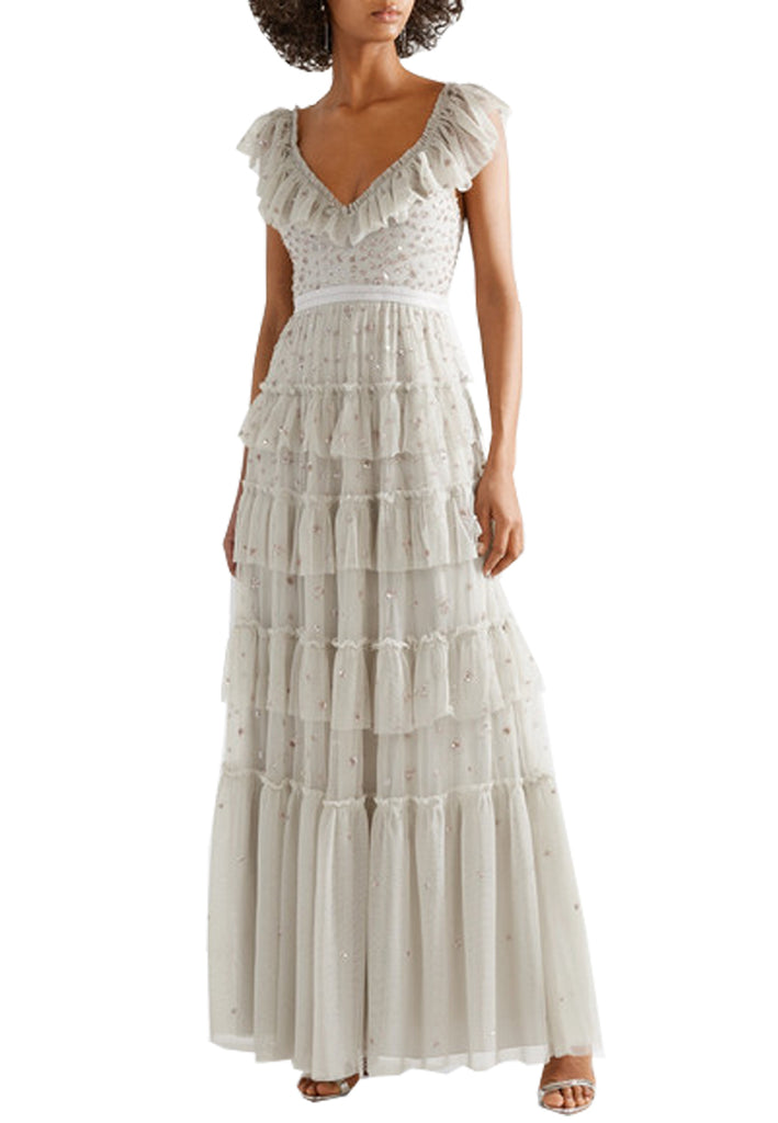 Light Grey Sunburst Plunging Neck Tiered Embellished Tulle Gown