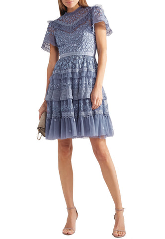 Navy Zarita Lace Mini Dress