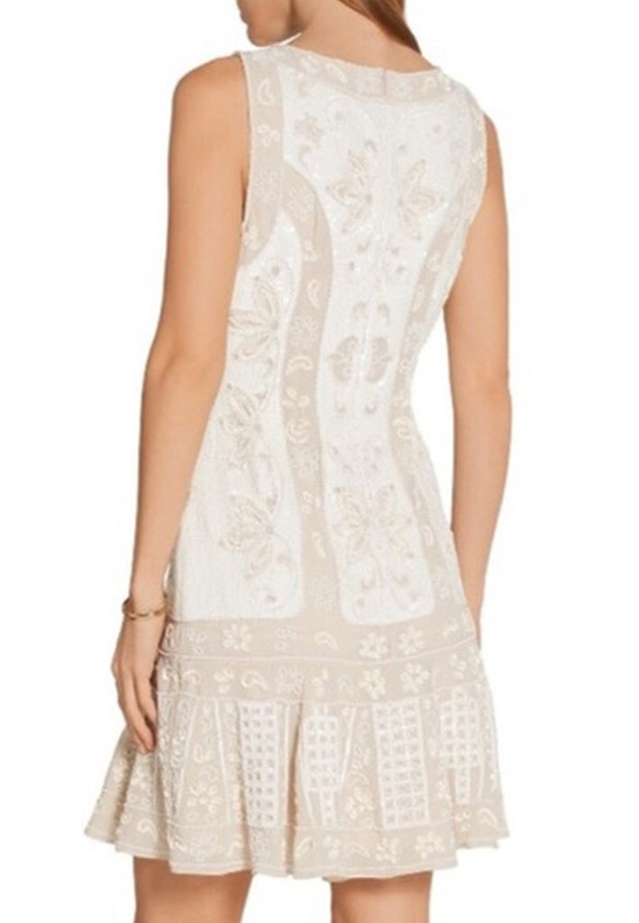 Nude and White Flapper Sequins Mini Dress