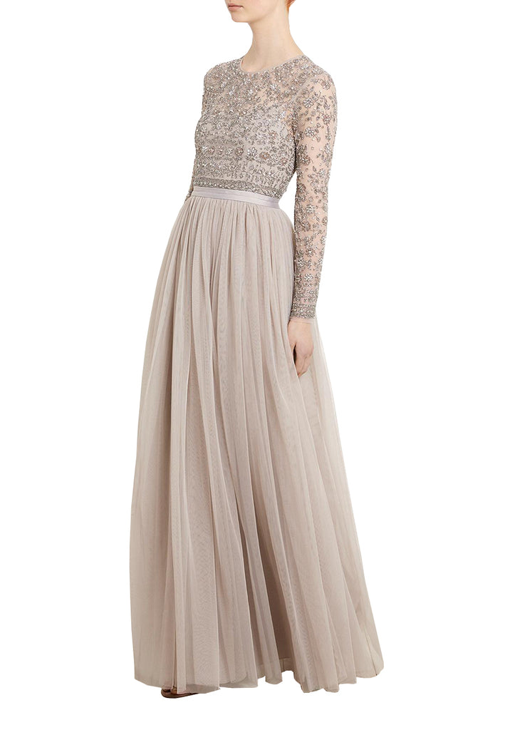 Nude Andromeda Long Sleeves Embellished Maxi Dress