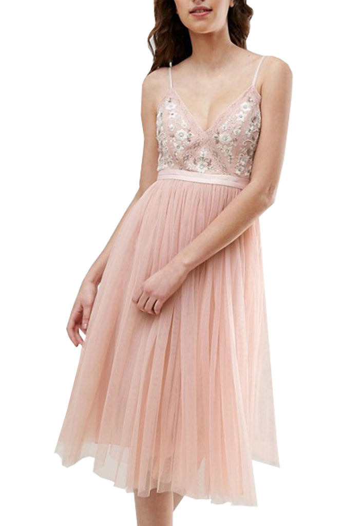 Pink Embroidered Floral Tulle Midi Dress