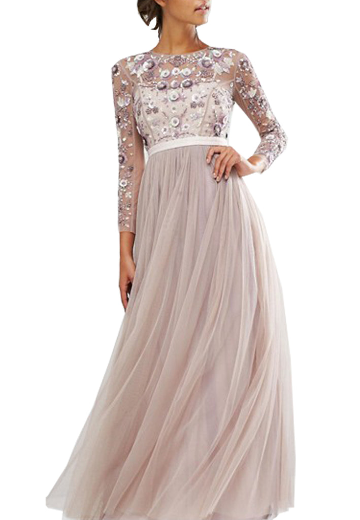 Purple Long Sleeves Floral Embroidered Gown