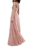 Pink Whimsical Vintage Rose Embroidered Gown