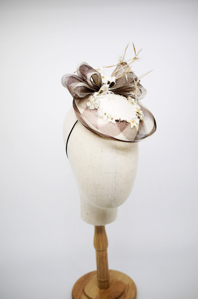 Being of Love - White and Brown Check Crin Hat with Silk Flowers