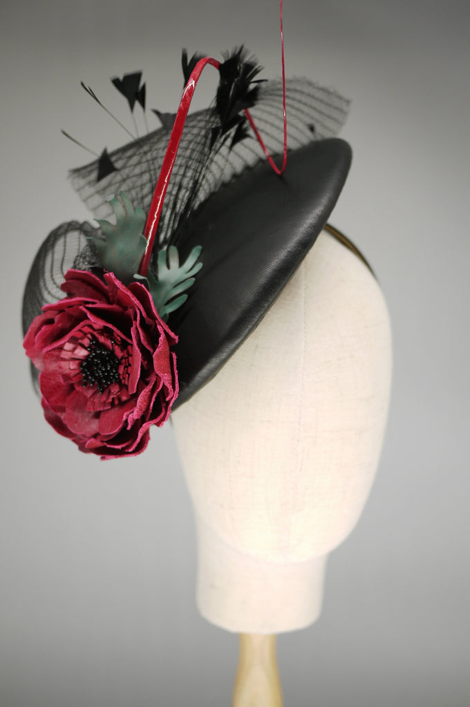 Being of Love -  Black Leather Saucer Hat with Red Rose