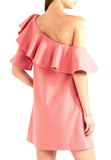 Pink Chi Chi One Shoulder Ruffle Dress