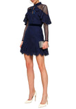 Navy Ruffle Lace Velvet Trimmed Long Sleeves Mini Dress