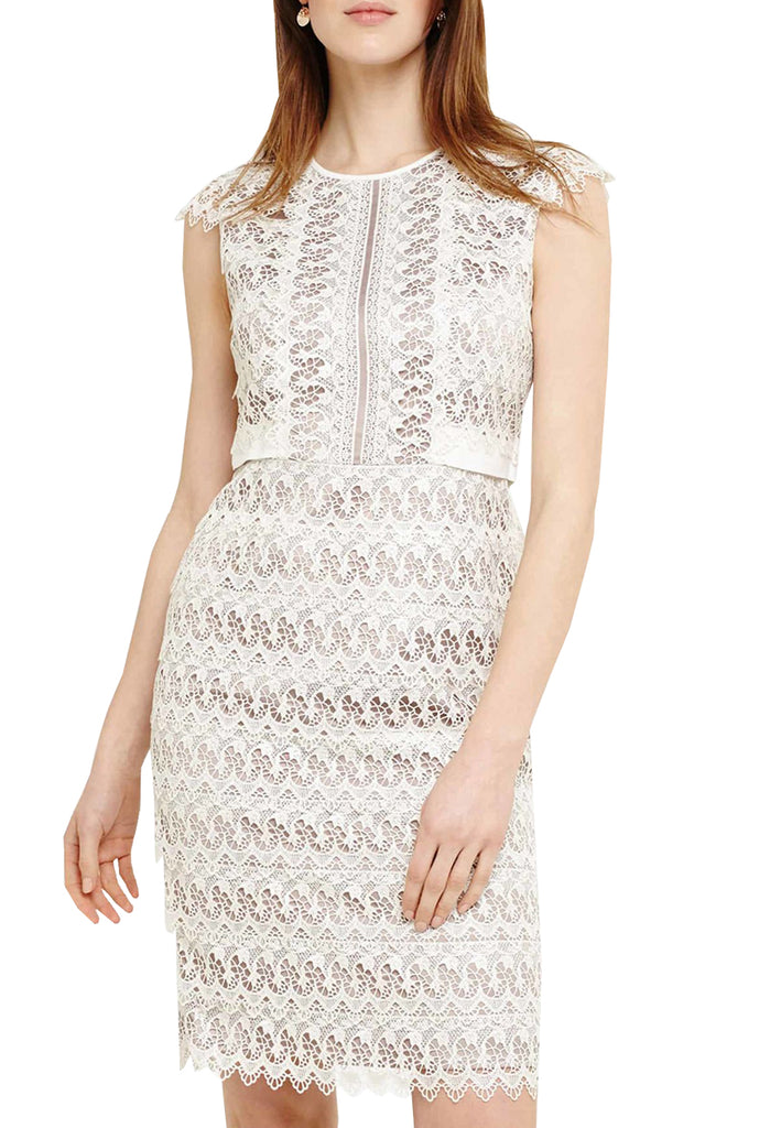 Ivory Ally Layered Lace Cap Sleeves Dress