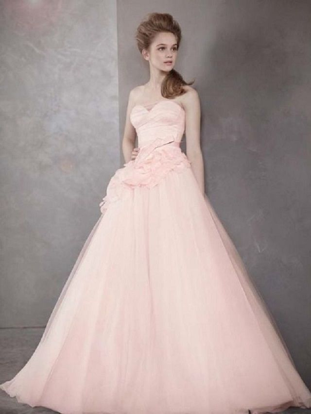 a82261fa6de7a White by Vera Wang Blush Strapless Flowers Appliqué Ball Gown ...