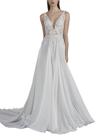 White Estelle Open Back Eyelash Lace Wedding Dress