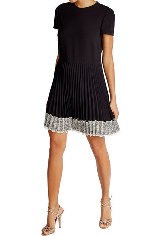Black Electrum Mesh Panel Brocade Frill Mini Dress