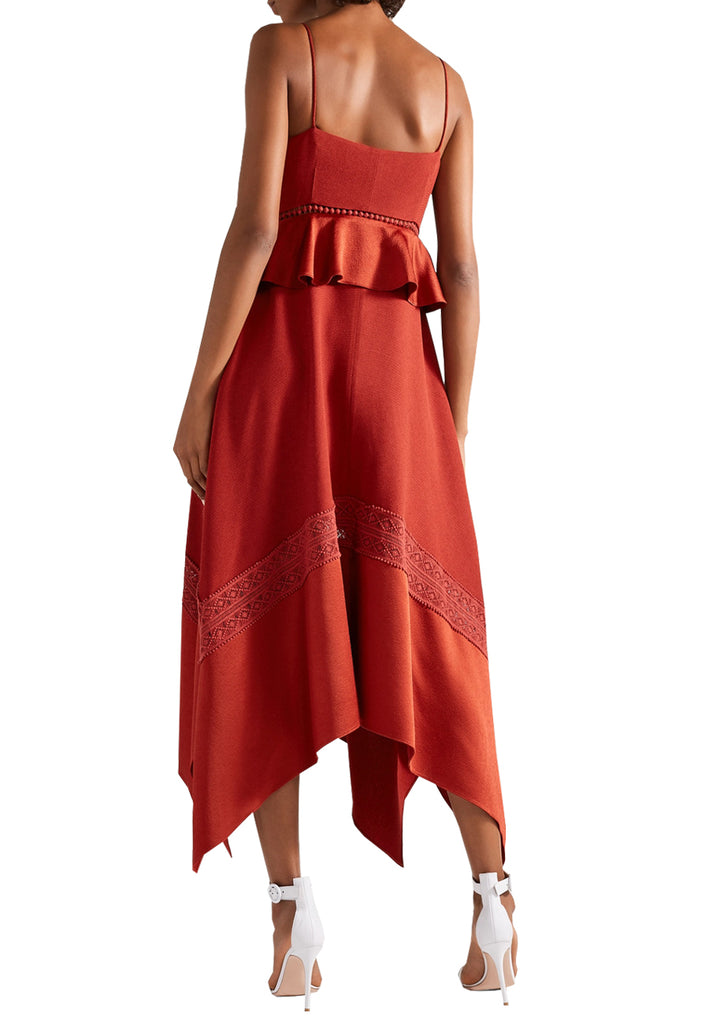 Red Astrid Satin-Trimmed Crepe Midi Dress