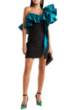 Black and Turquoise One Shoulder Ruffled Mini Dress