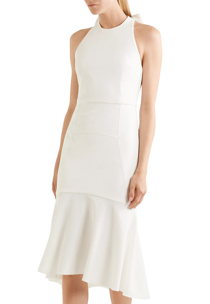 White Bow Back Cloqué Dress