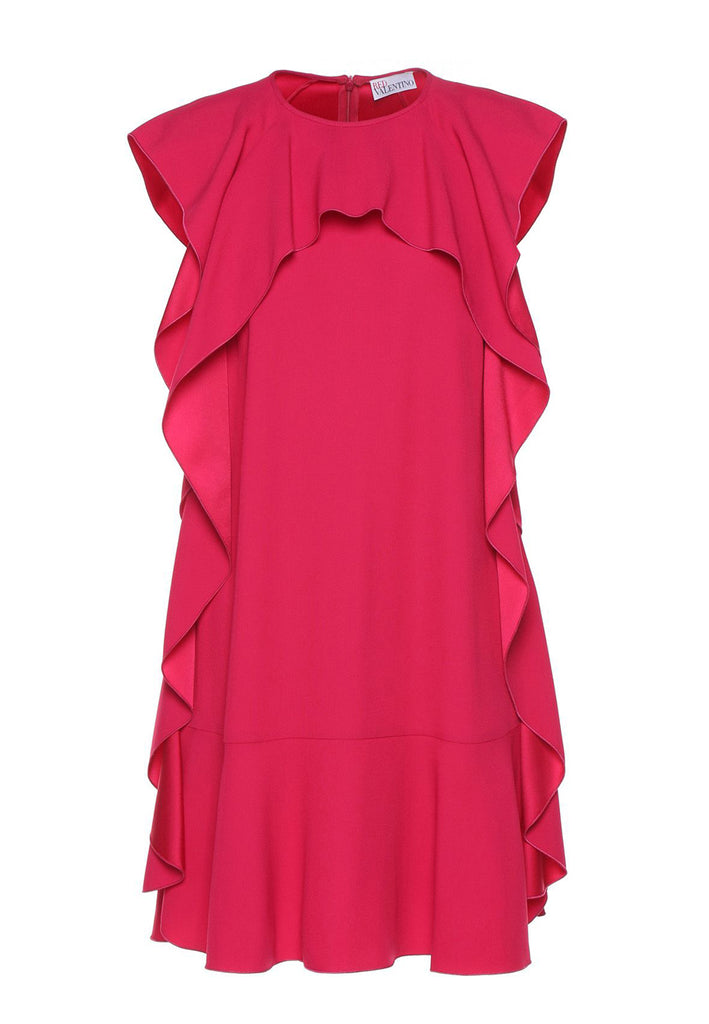 Fuchsia Azalee Short Sleeves Ruffle Mini Dress