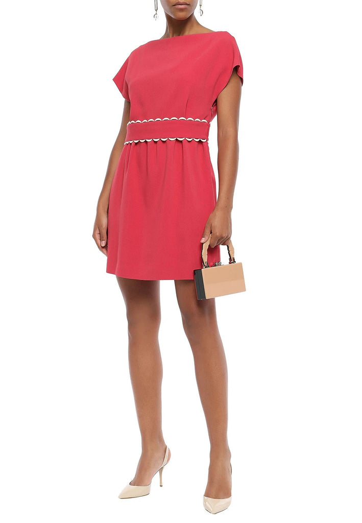 Fuchsia Scalloped Belt Short Sleeves Mini Dress
