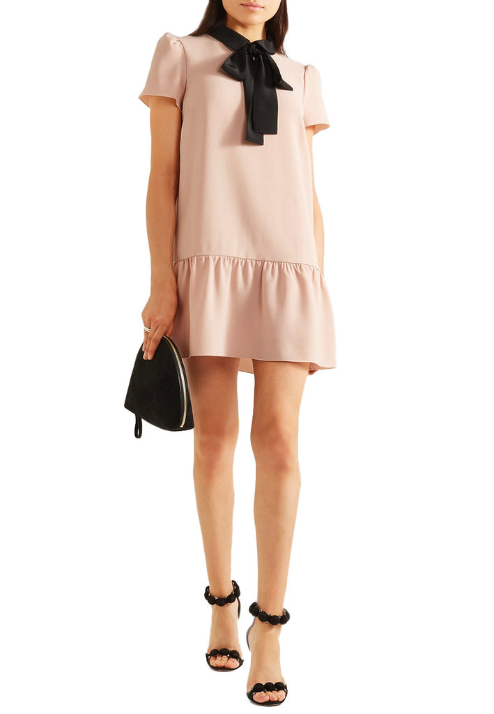 aa171a9c7a4 RED Valentino Blush Contrast Pussy Bow Mini Dress