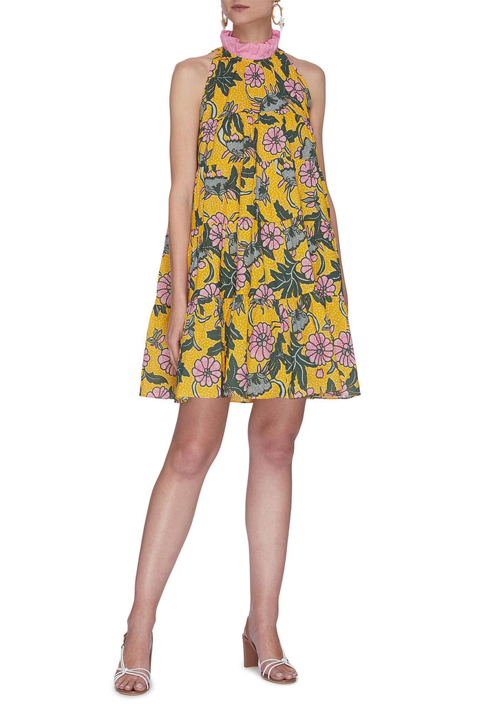 Yellow Billy Floral Print Halter Neck Dress