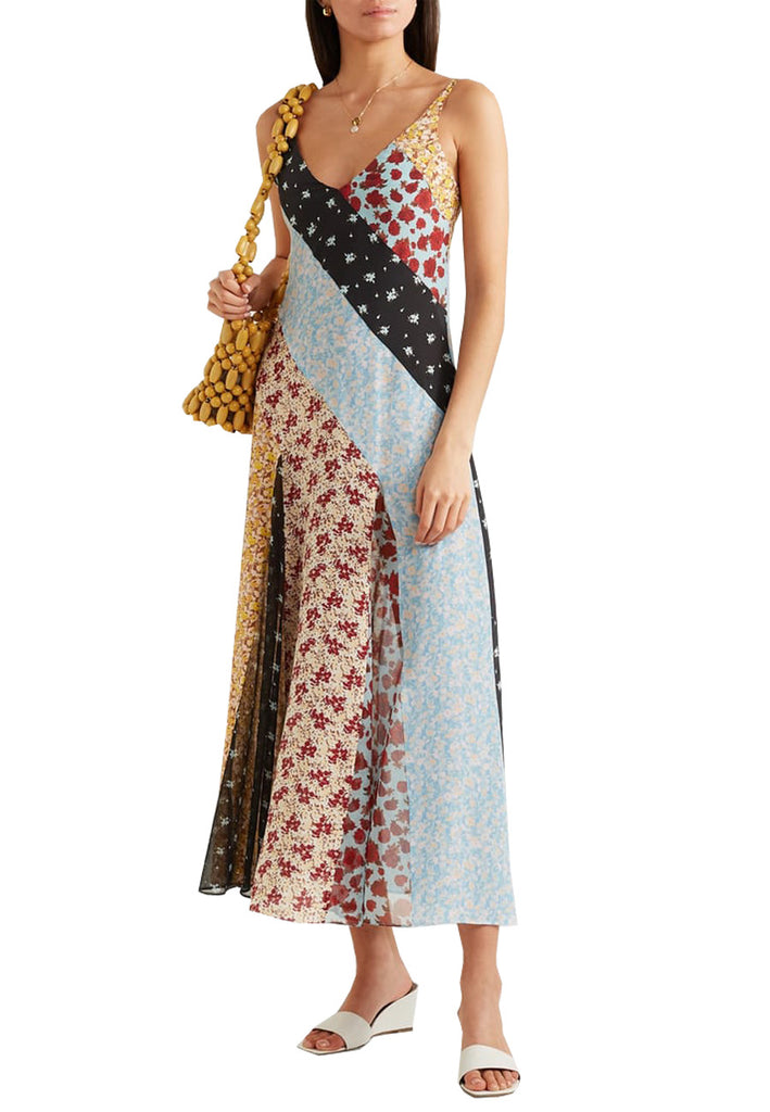 Floral Print Denise Patchwork Silk Midi Dress