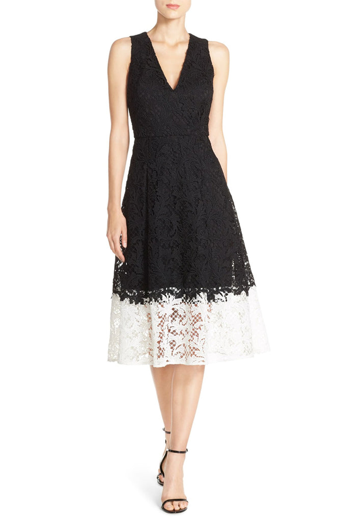 Black and White Antonia Colour Block Lace Midi Dress