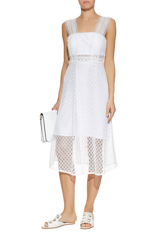 White Striped Mesh Dress