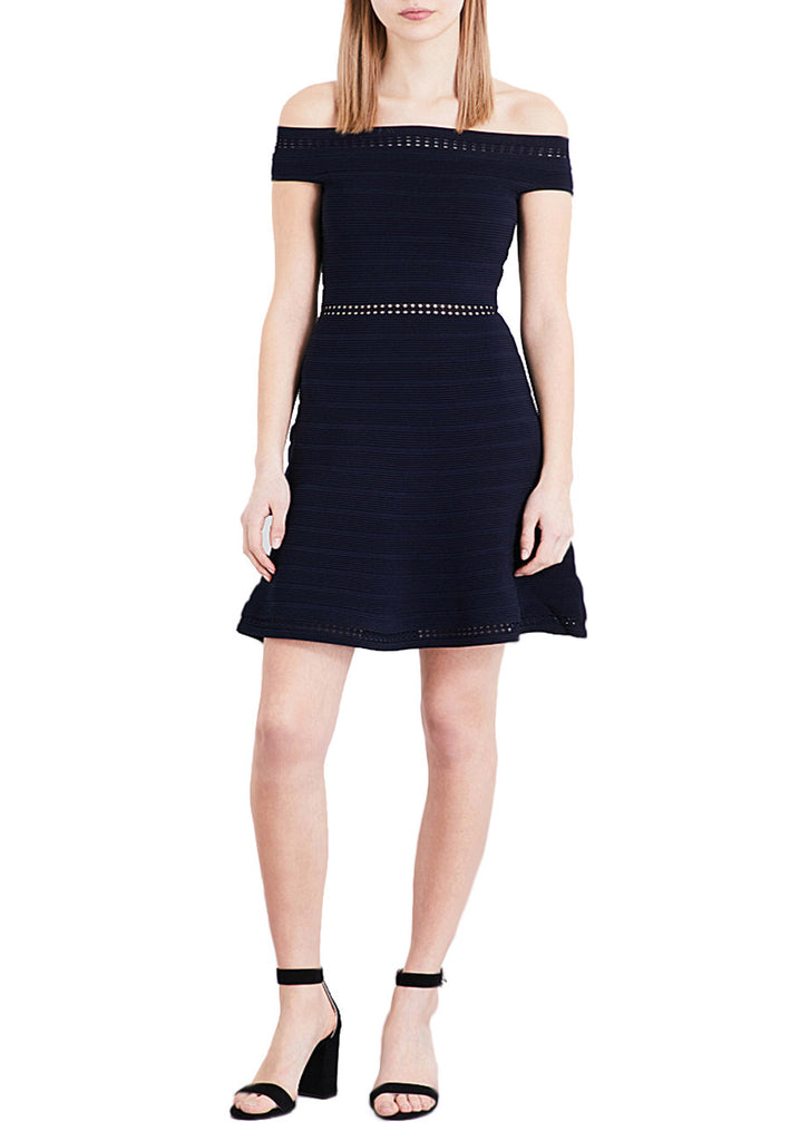 Dark Navy off-the-shoulder Fit-and-flare Dress