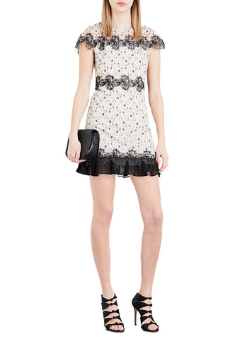 White Lace Trim Peekaboo Mini Dress