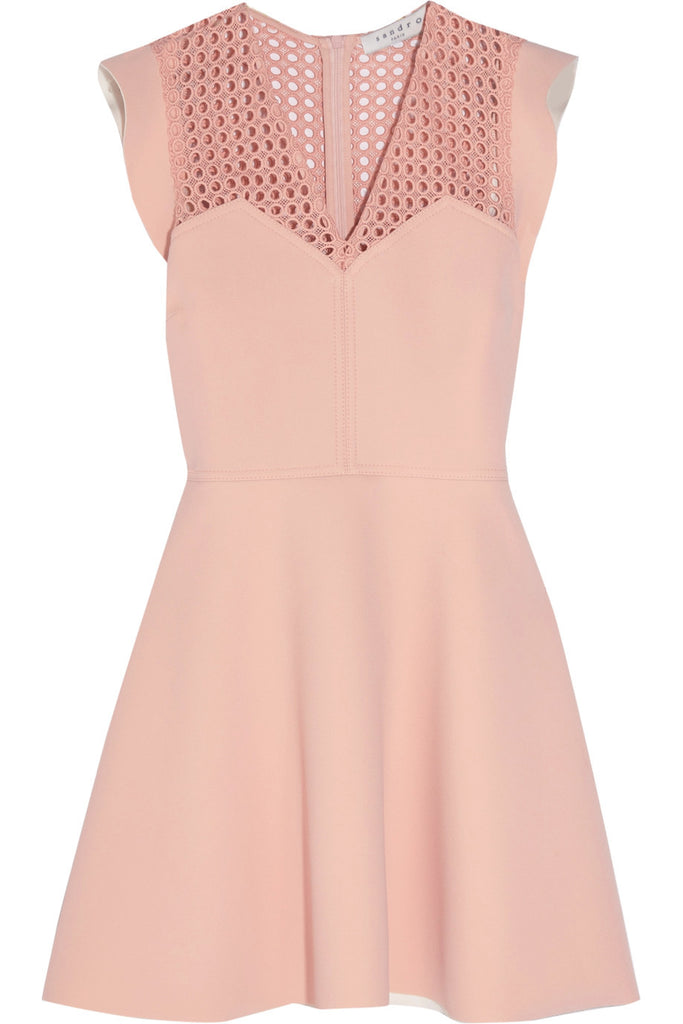 Nude Rebell Geometric Lace Ruffle Sleeve Mini Dress