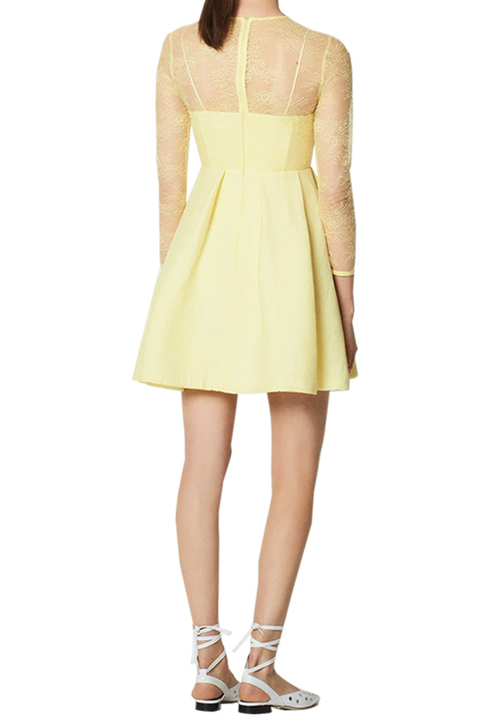 Yellow Jeanette Long Sleeve Lace Mini Dress