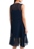 Navy Velvet Bow Ruffled Chiffon Dress