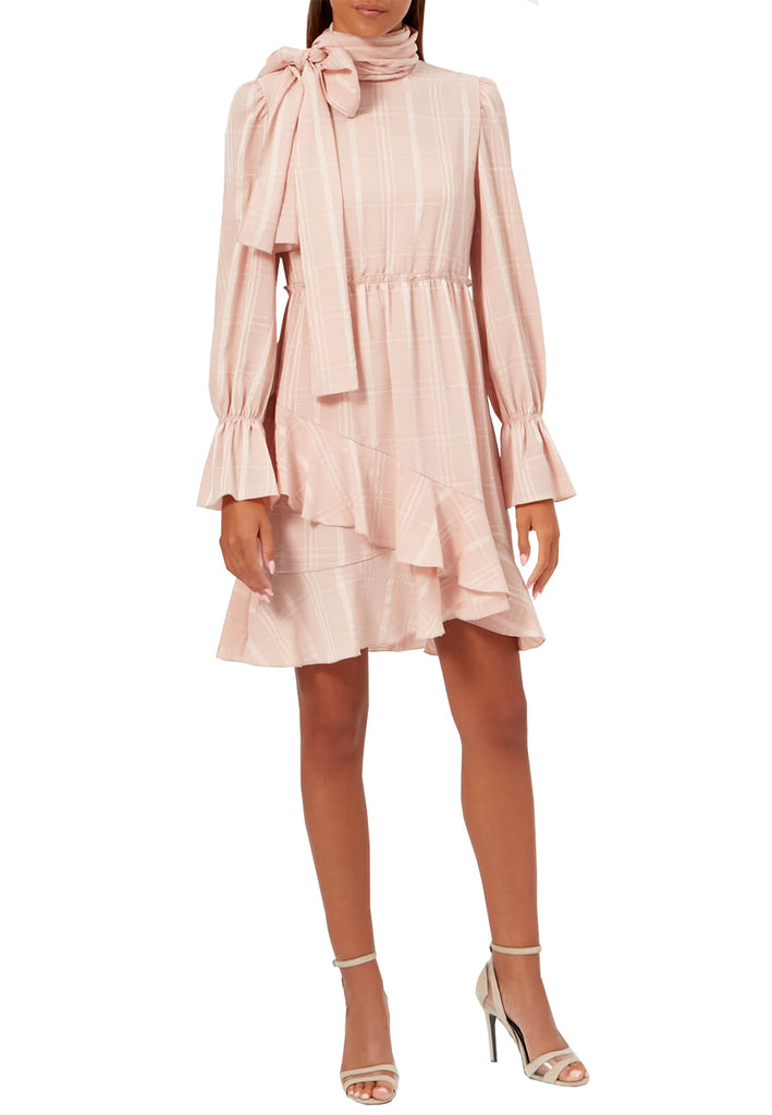 Blush Plaid Print Tie Neck Long Sleeves Dress