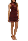 Burgundy Teardrop Guipure Lace Mini Dress