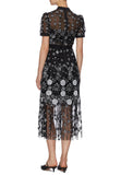 Black Deco Sequins Floral Embroidered Midi Dress