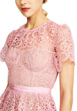 Pink Tiered Geometric Lace Short Sleeves Mini Dress