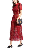 Red Heart Lace Short Sleeves Midi Dress