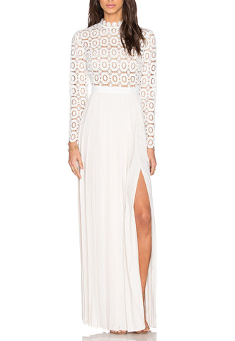 White Moonscape Floral Lace Midi Dress