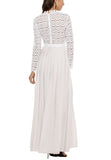 White Pleated Crochet Floral Maxi Dress