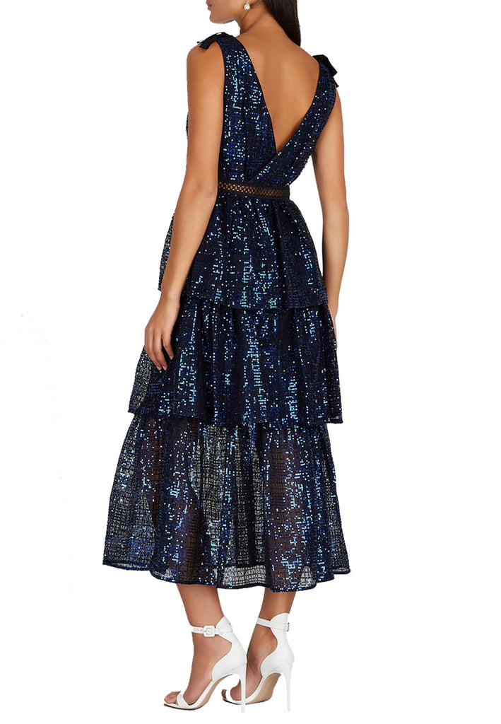 Blue Sequins Tiered Midi Dress