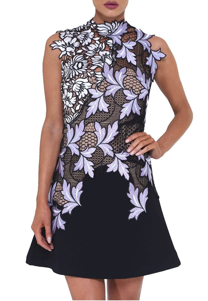 Black and Lilac Lila Floral Lace Mini Dress