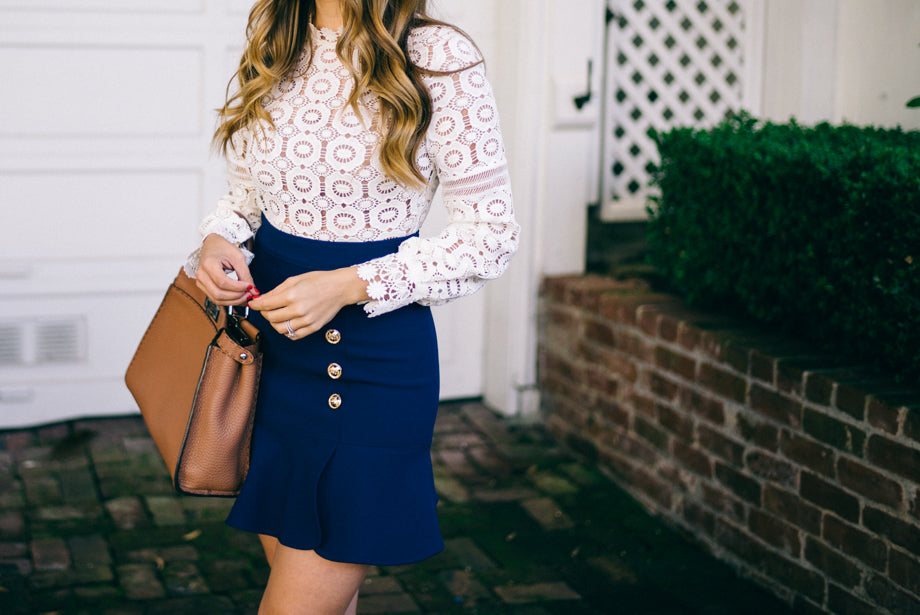 White Guipure Lace with Blue Crepe Mini Dress