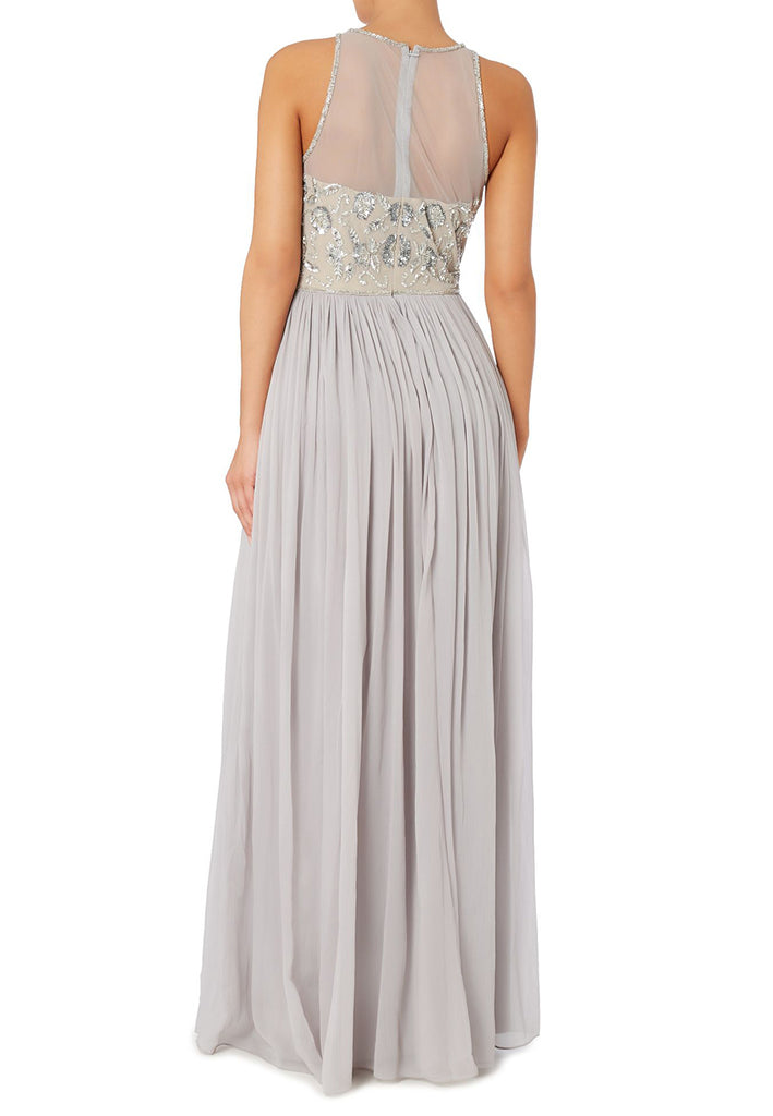 Silver Beaded Top Pleated Tulle Maxi Dress