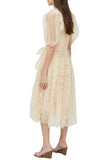 Beige Tulle Ruffle Dress