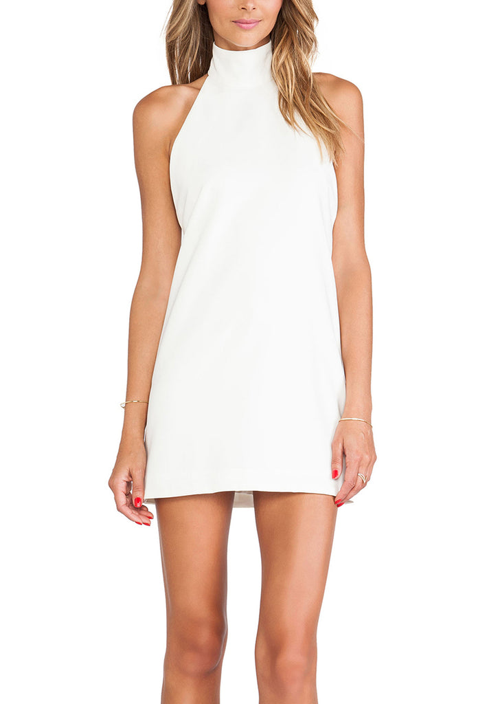 White Anther Halter Neck Mini Dress