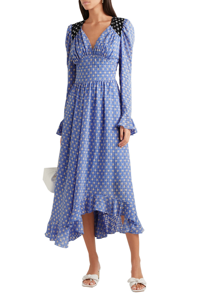 Blue Freesia Star Print Long Sleeves Midi Dress