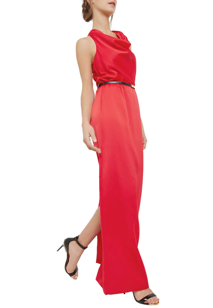 Red Arula Cowl Neck Gown