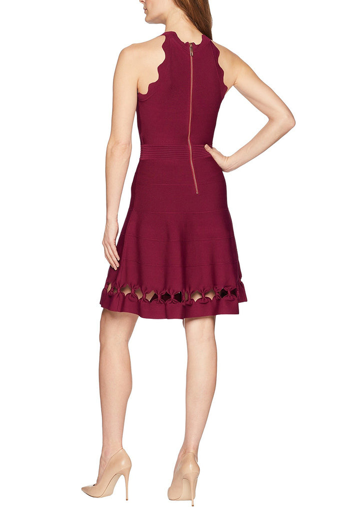 Burgundy Cherina Bow Detail Cutout Skater Dress